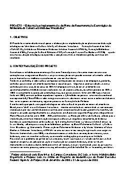 Elaboração e Implementação de Plano de Reestruturação Estr ...