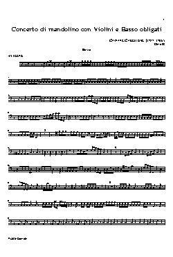 Concerto di mandolino con violini e basso obligati(basso)  ...