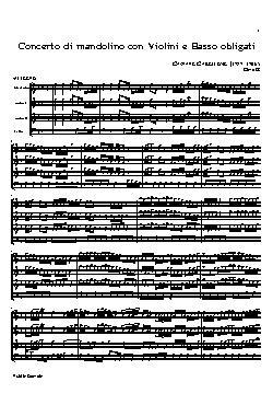Concerto di mandolino con violini e basso obligati- partit ...