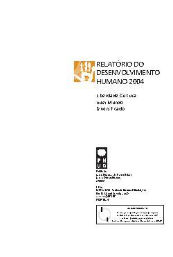 Relatórios do Desenvolvimento Humano - RDH 2004 -Liberdade ...