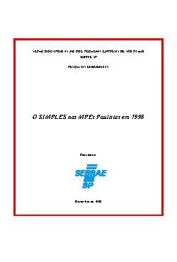 Sebrae - Simples Micro e Pequena Empresas Paulista 1998