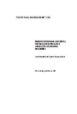 TD 1130 - Produto Potencial: Conceitos, Métodos de Estimaç ...