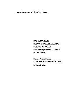 TD 1186 - Das Concessões Rodoviarias às Parcerias Público- ...