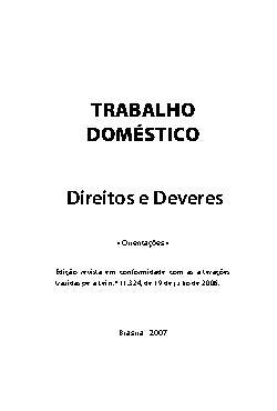 Trabalho doméstico : direitos e deveres: orientações