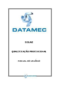SIGAE: qualificação profissional: manual do usuário
