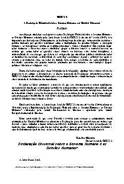 Declaração Universal do Genoma Humano e DireitosHumanos